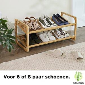 Decopatent Bamboe schoenenrek met 2 etages – Houten opbergrek voor 6 tot 9 paar schoenen – Ruimtebesparend / Compact / Klein en smal / 73 cm – 2 laags schoenenplank - Decopatent