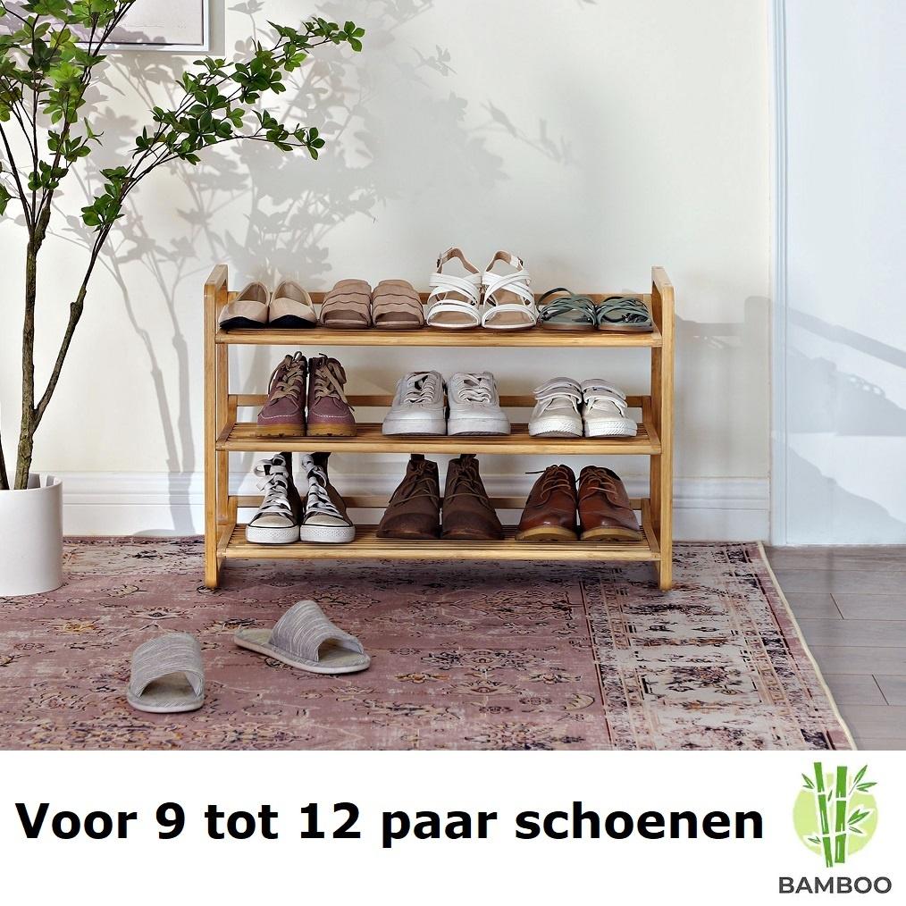 Hello Kitty Opbergrek.Decopatent Bamboe Schoenenrek 3 Etages Houten Opbergrek 9 Paar