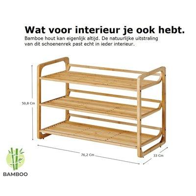 Decopatent Bamboe schoenenrek met 3 etages – Houten opbergrek voor 9 tot 12 paar schoenen – Ruimtebesparend 76 cm – 3 laags schoenenplank - Decopatent