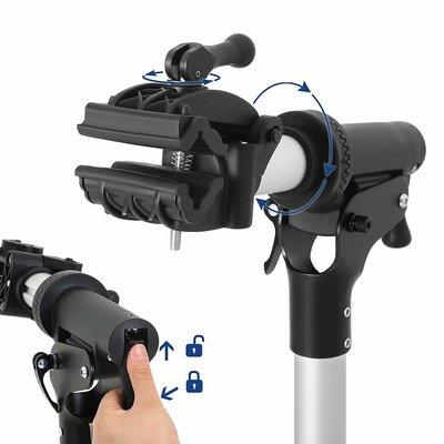 Songmics PRO DELUXE Fiets Montagestandaard Reparatiestandaard met magnetische gereedschapsbakje   360°  Draaibaar   Licht en in Hoogte verstelbaar van 112 tot 171 Cm.   Aluminium montagestandaard reparatieset voor fietsen   Kleur: Zwart