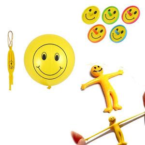 Decopatent 30 STUKS | MIX Vrolijke Traktatie / Uitdeel Kado's, bestaande uit: 10x Smiley Bounce Ballon, 10x Strech Smiley en 10x Smiley Tollen | Vrolijke Smiley Uitdeelcadeautjes