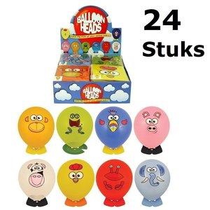 Decopatent 24 STUKS MIX Dieren Ballon Hoofden | Maak je eigen Dieren Ballon Hoofd | Uitdeelcadeautjes / Traktatie voor Jongens en Meisjes