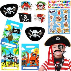 Decopatent 40 STUKS | Piraten Traktatie / Uitdeel Kado's, bestaande uit: 10x Piraten Uitdeelzakjes, 10x Piraten ooglap, 10x Piraten Stickervel  en 10x Piraten Ringen | Piraat Uitdeelzak met cadeautjes voor 10 Kinderen