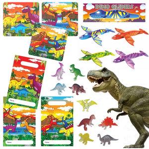 Decopatent 40 STUKS | Dinosaurus Traktatie / Uitdeel Kado's, bestaande uit: 10x Dinosaurus Uitdeelzakjes, 10x Dinosaurus Puzzel, 10x Dino Foam Vliegtuigen en 10x Dino figuur | Dino Uitdeelzakjes met cadeautjes voor 10 Kinderen