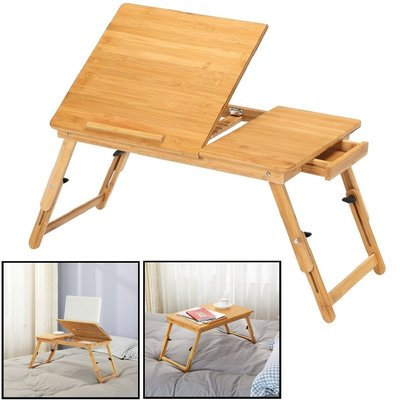 Decopatent Laptoptafel voor op bed van bamboe hout - Hoogte verstelbaar, kantelbaar & Inklapbaar - Bedtafel voor laptop, boek, tablet - Ontbijt op bed tafel - Decopatent®