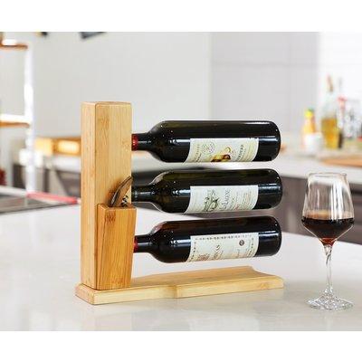 Decopatent Wijnrek van bamboe hout voor 3 flessen wijn - Design wijnflessenrek / flessenrek - Decopatent®