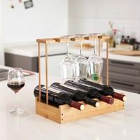 Decopatent Wijnrek van bamboe hout voor 4 flessen wijn en 4 wijnglazen - Design wijnflessenrek / flessenrek met wijnglashouder - Decopatent®