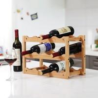 Decopatent Wijnrek van bamboe hout voor 12 flessen wijn - Design wijnflessenrek / flessenrek met 3 lagen - Decopatent®