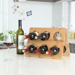 Decopatent Design wijnrek van bamboe hout voor 6 flessen wijn - Chique wijnflessenrek / flessenrek - Decopatent®