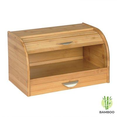Decopatent Broodtrommel van bamboe hout met Schuifdeksel - Houten brooddoos / brood trommel met schuifdeksel en geïntegreerde brood snijplank - Decopatent®