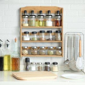 Decopatent Ophangbaar kruidenrek voor 15 kruidenpotjes - Keukenrek / specerijen rek van bamboe hout - 3 laags keukenorganizer - Decopatent®