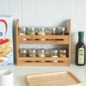 Decopatent Kruidenrekje voor 10 kruidenpotjes - Keukenrek / staand specerijen rek van bamboe hout - 2 laags keukenorganizer voor aanrecht - Decopatent®