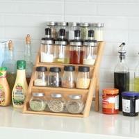 Decopatent Kruidenrekje voor 16 tot 20 kruidenpotjes - Keukenrek / staand specerijen rek van bamboe hout - 4 laags keukenorganizer voor aanrecht - Decopatent®