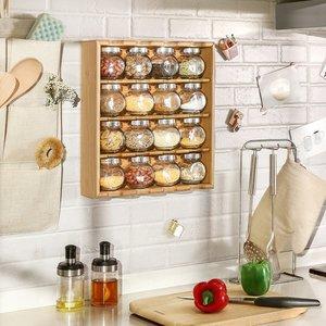 Decopatent Kruidenrekje met 16 kruidenpotjes van glas - Keukenrek / specerijen rek van bamboe hout - 4 laags keukenorganizer - Hangend en staand te gebruiken - Decopatent®