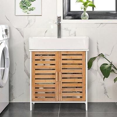 Decopatent Wastafel onderkast met uitsparing - 30 x 60 x 60 cm (L x B x H) - Badkamermeubel staand van bamboe hout - Badkamerkast wit - Meubel / kastje / wastafelkast voor Badkamer - Decopatent®
