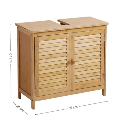 Decopatent Wastafel onderkast met uitsparing - 67 x 30 x 60 cm (L x B x H) - Wastafelonderkast - Badkamermeubel staand van bamboe hout - Badkamerkast / Meubel / kastje / wastafelkast voor Badkamer - Decopatent®