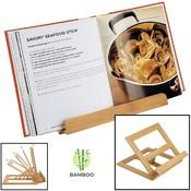 Decopatent Luxe boekenstandaard van bamboe hout - Boekenhouder voor o.a. kookboek (als kookboekstandaard in keuken), tablet of boek - Boekensteun, verstelbaar & inklapbaar - Decopatent®