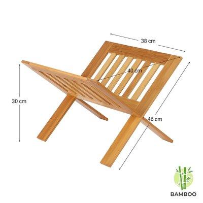 Decopatent Luxe boekenstandaard van bamboe hout - Boekenhouder / tijdschriftenrek / lectuurbak - Boekensteun / boekenplank - Decopatent®