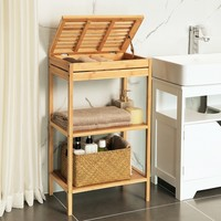 Decopatent Badkamerrek van bamboe hout - Staand rek met 3 etages voor in de badkamer - Open kastje als badkamerkast - Decopatent®