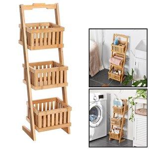 Decopatent Houten opbergrek met 3 manden - Staand badkamerrek / keukenrek met bakken van bamboe hout - Smal rek voor keuken / badkamer van Decopatent®