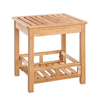 Decopatent Badkamerbankje van bamboe hout - Stevig houten bankje voor badkamer - Handig als badkamerkruk / badkamerstoel - Decopatent®