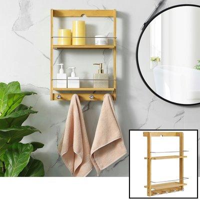 Decopatent Hangend badkamerrek van bamboe hout - Met 2 legplanken en 4 handdoekhaakjes - Luxe handdoekenrek / handdoekenhouder / wandrek - Badkamer rek voor o.a. handdoeken - Decopatent®