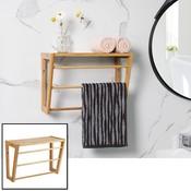 Decopatent Bamboe wandplank en handdoekenrek voor in de badkamer - Hangend houten wandrek / handdoekenhouder - Badkamer rek voor handdoeken - Decopatent®