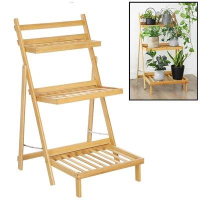 Decopatent Plantenrek van bamboe hout - Plantentrap / bloemenrek voor binnen - Plantenetagere met 3 etages - Staand rek voor planten en bloemen - Decopatent®
