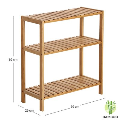 Decopatent Opbergrek van bamboe hout - Als open badkamerrek of schoenenrek met 3 etages / planken - Rek voor badkamer, schoenen en hal - 60 cm breed - Decopatent®
