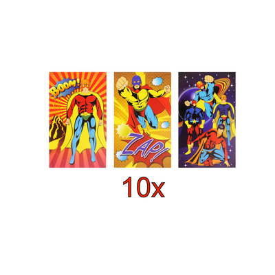 Decopatent 10 STUKS | KANT-EN-KLARE Gevulde SUPER HERO Traktatiedozen INCLUSIEF Uitdeel Kado's. Bestaande uit: Uitdeelbox, Krijtjes, Notitieblok, Flipperspel, Puzzel, Stickervel en Bellenblaas | Jongens | Tractatiedozen voor Verjaardagen en Kinderfeestjes