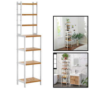 Decopatent Staand opbergrek van bamboe hout - Smal badkamerrek, keukenrek, slaapkamerrek etc - Voor badkamer, keuken - Decopatent®