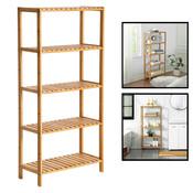 Decopatent Opbergrek van bamboe hout - Als open badkamerrek, schoenenrek of keukenrek - Opbergkast met 5 verstelbare etages / planken - Rek voor badkamer, keuken en hal - 60 cm breed - Decopatent®