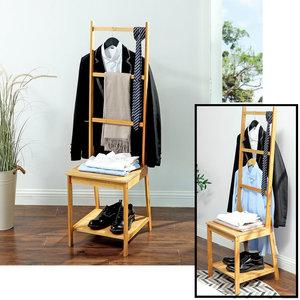 Decopatent Dressboy van bamboe hout - Kledingstandaard met zitting en rekken - Biedt plaats aan schoenen, blouse en broeken - Voor badkamer, slaapkamer en walk-in closet - Decopatent®