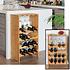 Decopatent Groot wijnrek van bamboe hout voor 16 flessen wijn en 8 wijnglazen - Design wijnflessenrek / flessenrek met wijnglashouder - Decopatent®
