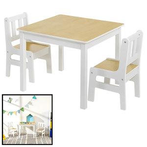 Decopatent Kindertafel met stoeltjes van hout - 1 tafel en 2 stoelen voor kinderen - Wit met hout - Kleurtafel / speeltafel / knutseltafel / tekentafel / zitgroep set - Decopatent®