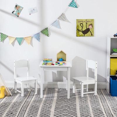 Decopatent Kindertafel met stoeltjes van hout - 1 tafel en 2 stoelen voor kinderen - Wit - Kleurtafel / speeltafel / knutseltafel / tekentafel / zitgroep set - Decopatent®