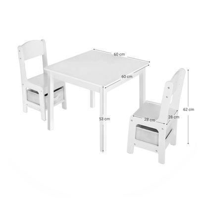 Decopatent Kindertafel met stoeltjes van hout – 1 tafel en 2 stoelen voor kinderen - Wit - Kleurtafel / speeltafel / knutseltafel / tekentafel / zitgroep set - Decopatent®