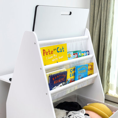Decopatent Kleurtafel / knutseltafel / speeltafel / teken tafel / boekenkast voor kinderen - Inclusief krukje - Met opbergruimte voor boeken, knuffels en speelgoed - Multifunctioneel Kinderbureau van hout, in kleur wit - Met  accessoires - Decopatent®