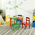 Decopatent Kindertafel met stoeltjes van hout - 1 tafel en 4 stoelen voor kinderen - Rood, blauw, groen geel, oranje - Kleurtafel / speeltafel / knutseltafel / tekentafel / zitgroep set - Decopatent®