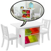 Decopatent Kindertafel met stoeltjes van hout - 1 tafel en 2 stoelen voor kinderen - Met veel opbergruimte - Kleurtafel / speeltafel / knutseltafel / tekentafel / zitgroep set - Decopatent®