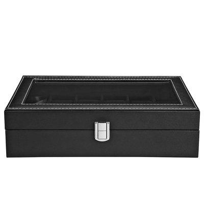 Decopatent Luxe horlogebox voor 12 horloges - Heren en Dames horloge box - Horlogedoos / horlogekist in zwart PU leer - Decopatent®