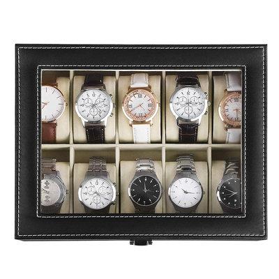 Decopatent Luxe horlogebox voor 10 horloges - Heren en Dames horloge box - Horlogedoos / horlogekist in zwart met beige - PU leer - Decopatent®
