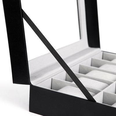 Decopatent Luxe horlogebox voor 10 horloges - Heren en Dames horloge box - Horlogedoos / horlogekist in zwart met grijs - PU leer - Decopatent®