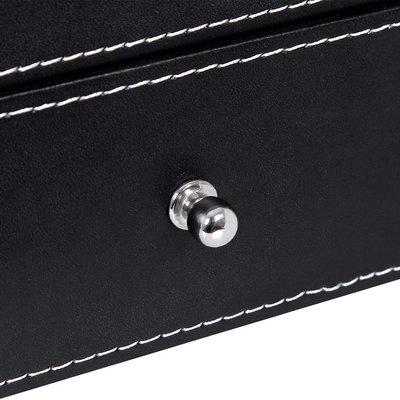 Decopatent Luxe horlogebox voor 20 horloges - Heren en Dames horloge box - Grote horlogedoos / horlogekist in zwart met grijs - PU leer - XXL 2 etages - Decopatent®