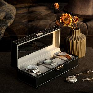 Decopatent Luxe horlogebox voor 5 horloges - Heren en Dames horloge box - Horlogedoos / horlogekist in zwart met grijs - PU leer - Decopatent®