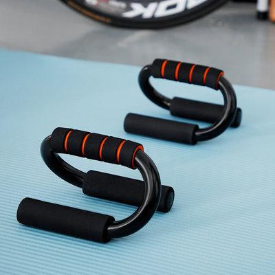 Decopatent Push up bars - Set van 2 stuks - Stevige opdruksteunen voor push ups - S-Vorm voor hoge stabiliteit - Foam handvatten voor extra grip - Zwart met oranje - Decopatent®