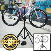 Decopatent Montagestandaard fiets - Luxe uitvoering - 360° draaibaar, verstelbaar, met gereedschapsbakje en stuurhouder - Fietsreparatiestandaard - Fiets montage reparatie standaard - O.a voor racefiets, MTB fietsen standaard - Decopatent®
