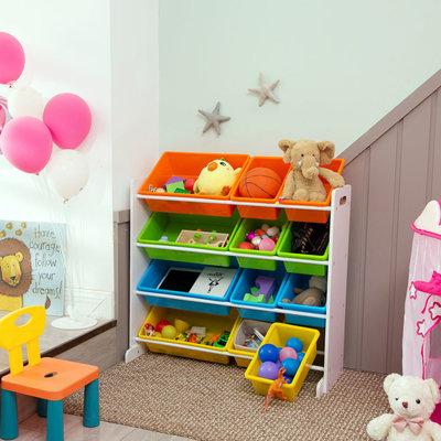 Decopatent Opbergkast kinderen met 12 bakken - Opbergrek voor opbergen van speelgoed, boeken en knuffels - Kinderkast / organizer / speelgoedkast voor kinderkamer in wit - Decopatent®