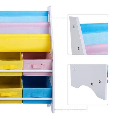 Decopatent Opbergkast kinderen en boekenkast in 1 - Opbergrek voor opbergen van boekjes, speelgoed en knuffels - Kinderkast / organizer / speelgoedkast voor kinderkamer in wit - Decopatent®
