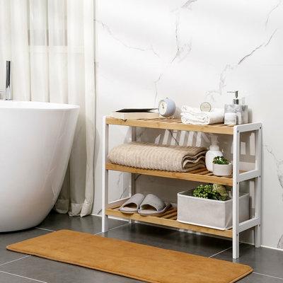 Decopatent Schoenenrek bamboe hout - Voor 9 paar schoenen - 70 cm breed - Rek met 3 etages - Opbergrek met moderne uitstraling - Ook als open badkamerrek / organizer voor badkamer - Decopatent®